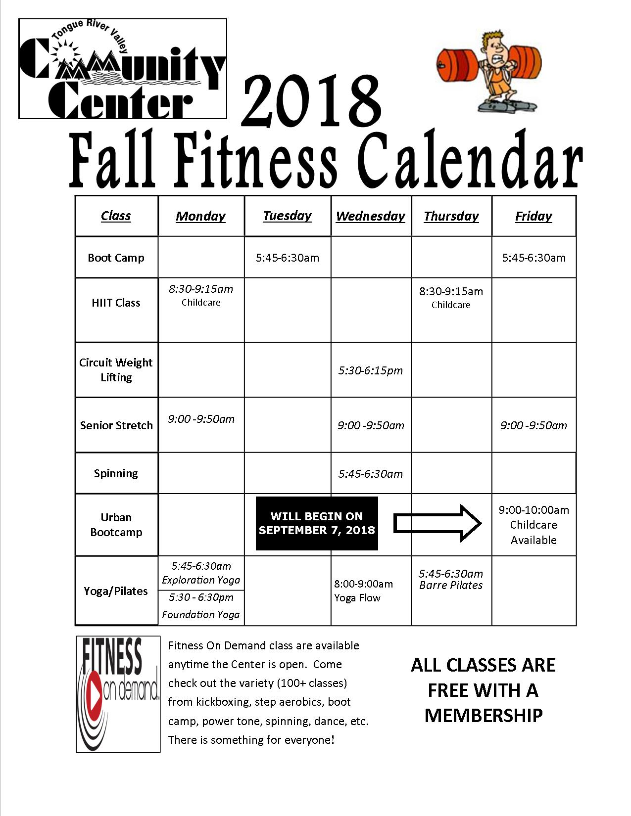 Fitness Schedule Tongue River Valley Community Center