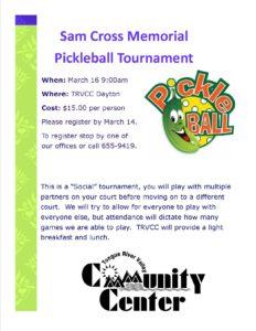 Sam Cross Memorial Pickle-Ball Tournament @ TRVCC Dayton