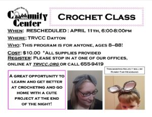 Montly Crochet Class @ TRVCC Dayton
