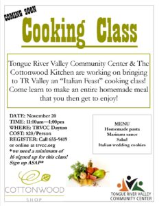 Cooking Class with Cottonwood Kitchen! @ TRVCC Dayton