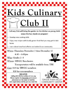 After School - Culinary Club @ TRVCC Ranchester